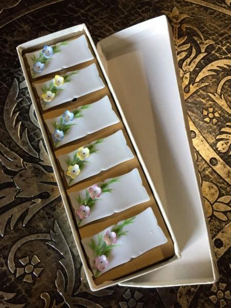 Japanese-Chopstick-RestsHolders-6pc-in-Original-Box-Flower-Design-301769258359