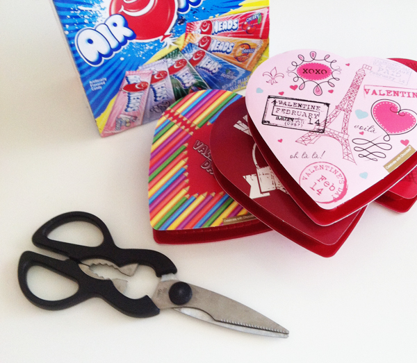Supplies to make Airheads valentine's box