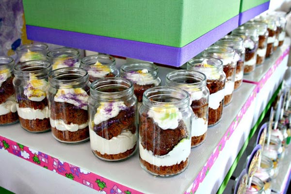 Mardi Gras cupcakes in jars for birthday party