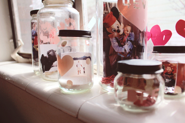Love collection photo display using Cricut materials and jars. See the post here: http://everclevermom.com/2014/02/valentines-day-activity-make-a-love-collection-photo-display/