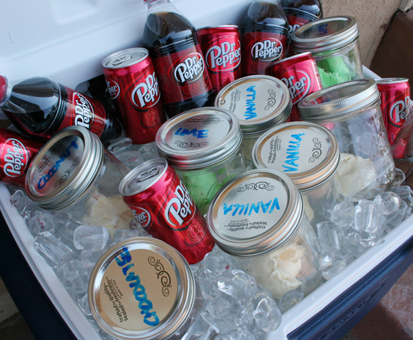 Make Dr. Pepper ice cream sodas