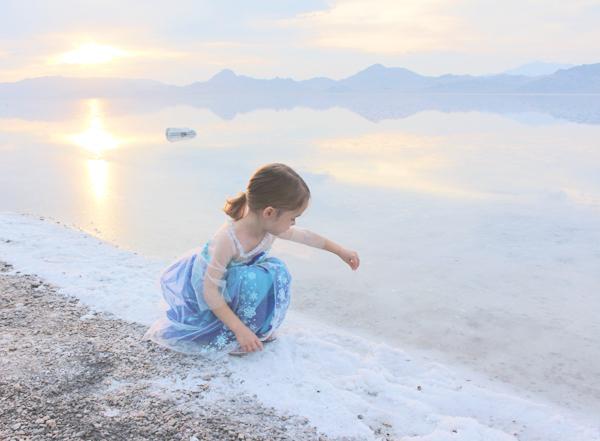 Bonneville salt flats sunset and Queen Elsa costume #FROZENFun #shop