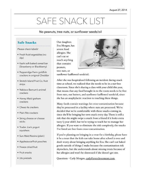 Nut Allergy Parenting: The Safe Snacks List for School