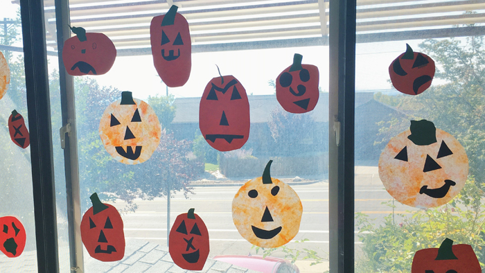 Make coffee filter pumpkins for Halloween