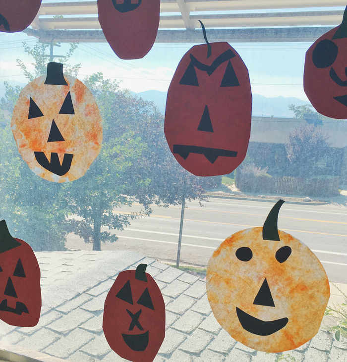Easy coffee filter jack o'lanterns