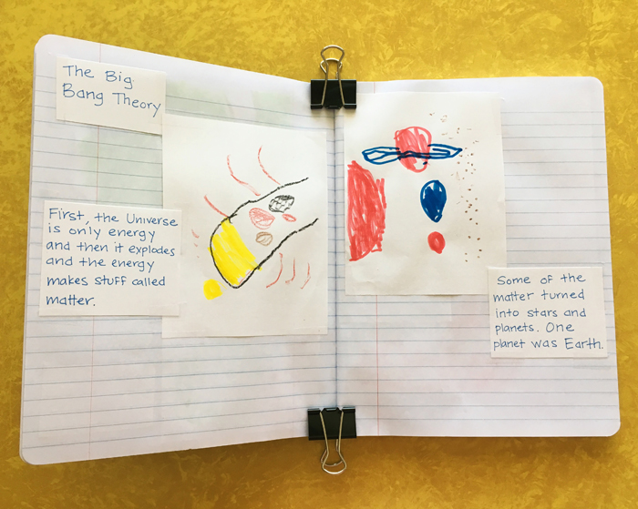 Homeschool history notebook: explaining the Big Bang in Kindergarten