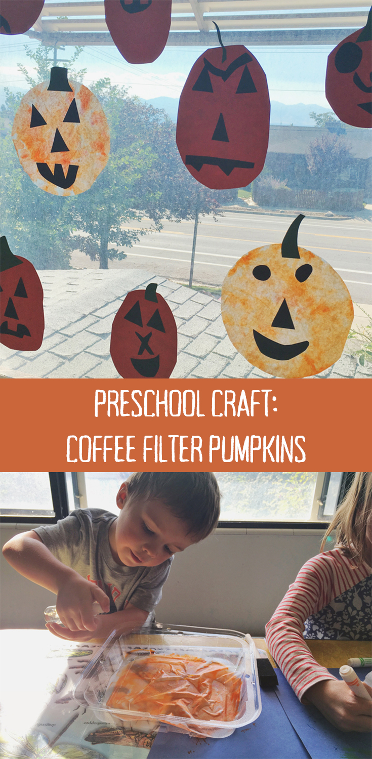 Halloween Preschool craft: make jack-o-lanterns with coffee filter pumpkins