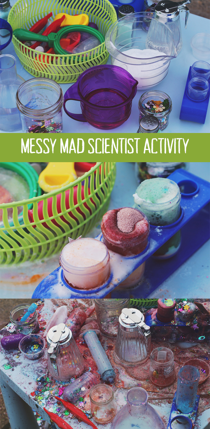 Messy mad scientist activity. Fun science activity for preschoolers using household items!