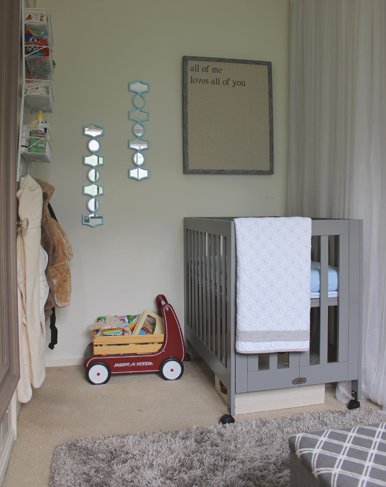 Ever clever mom nursery reveal our tiny shared bedroom for Cute baby boy bedroom ideas