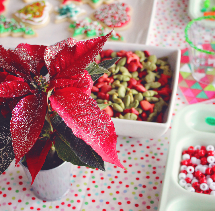 Glitter poinsettia at a Christmas party