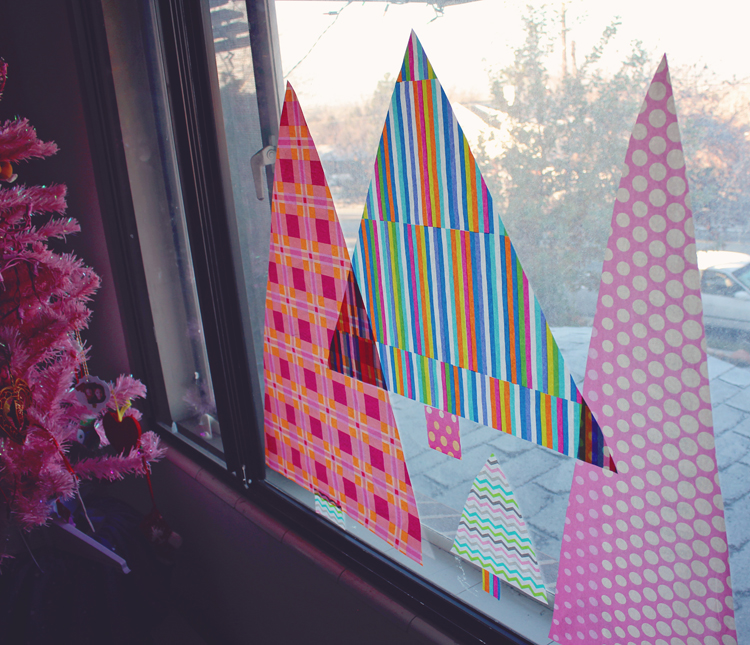 Midcentury Christmas window decoration using patterned tissue paper