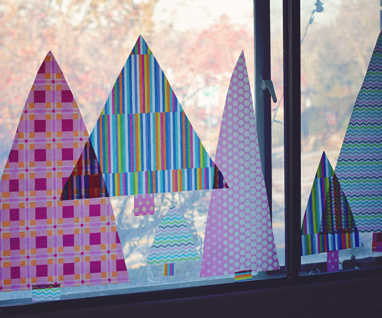 Christmas window using tissue paper and a washable glue stick