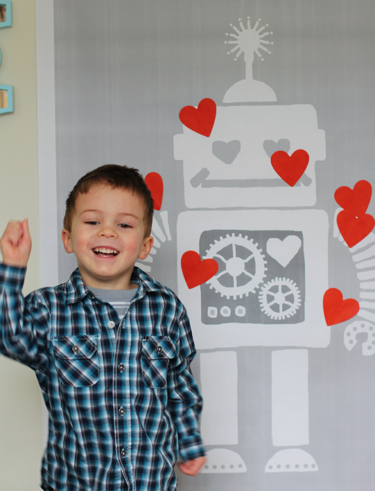 Pin the heart on the robot party game for Valentine's Day