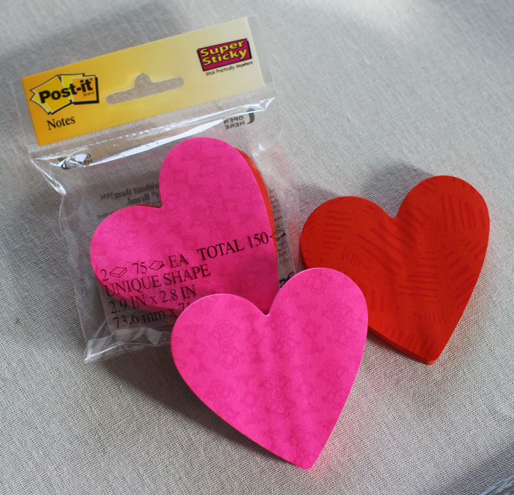 Heart shaped Post It notes for Valentine's Day party game