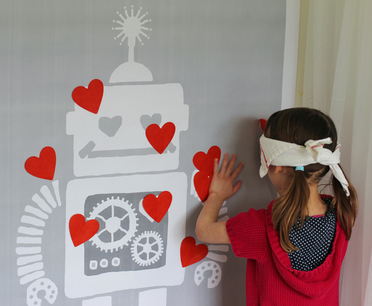 Engineering print used for pin the tail party game for Valentine's Day