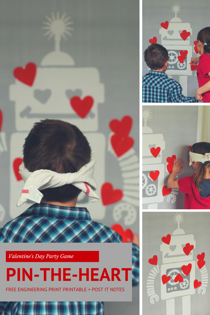 Valentines Day Pin the Heart on the Robot Game