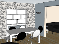 three D rendering of a dining room