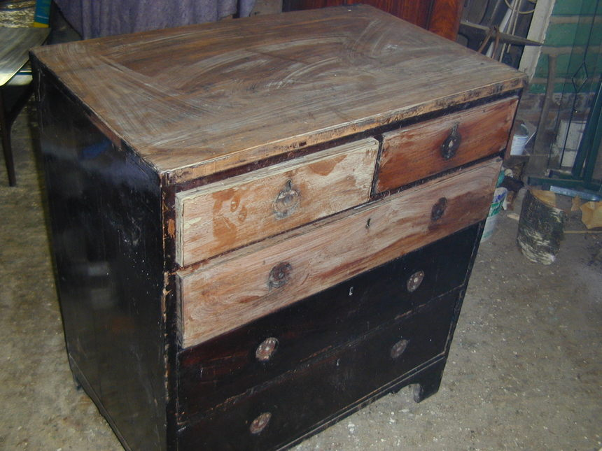 Georgian chest requiring major restoration work before being polished