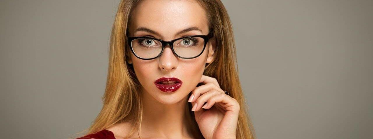 Fashionable woman in glasses