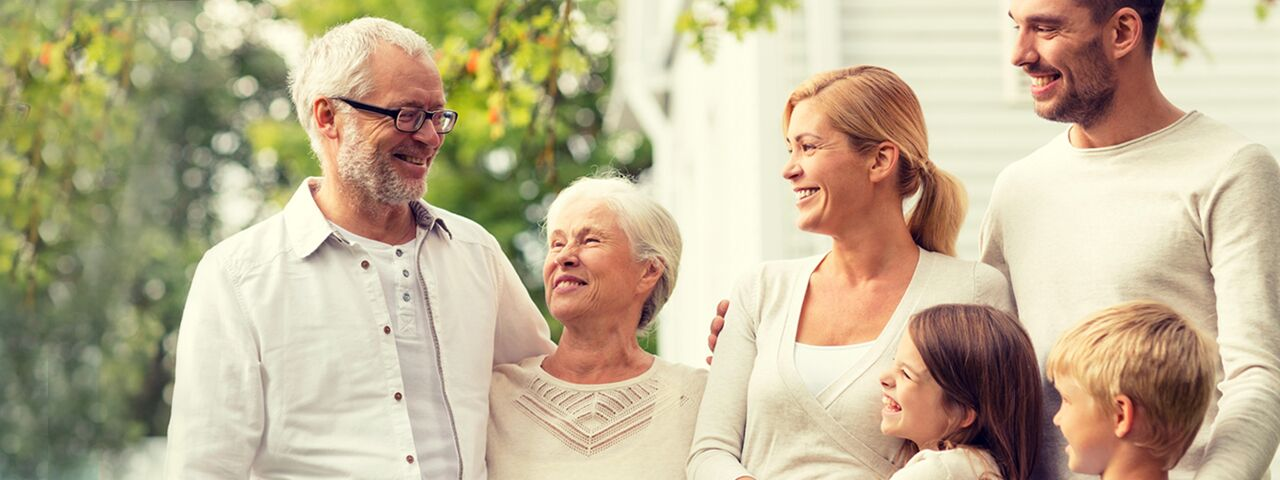 grandparents with family after testing for keratoconus