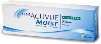 Eye doctor, box of JJ 1 day acuvue moist multifocal contact lenses in Fairfax, VA