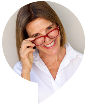 Testimonial, senior woman wearing glasses