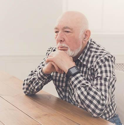 Man with Macular Degeneration, thinking