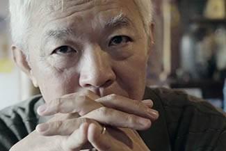 Elderly asian man, dark eye-color