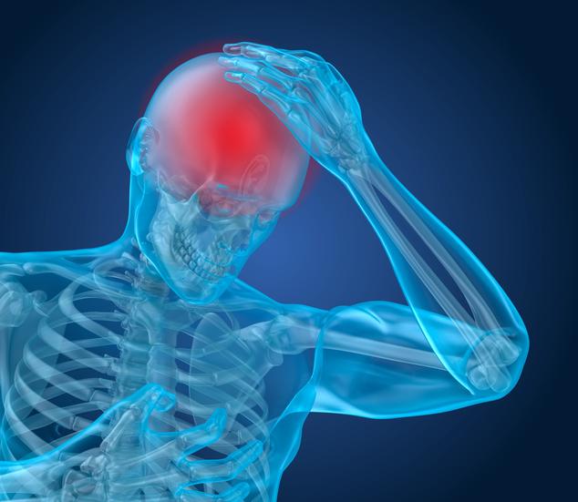 Illustration of headache and brain injury