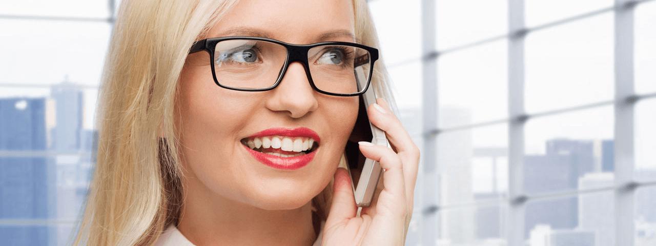 glasses caucasian business woman smartphone 1280x480
