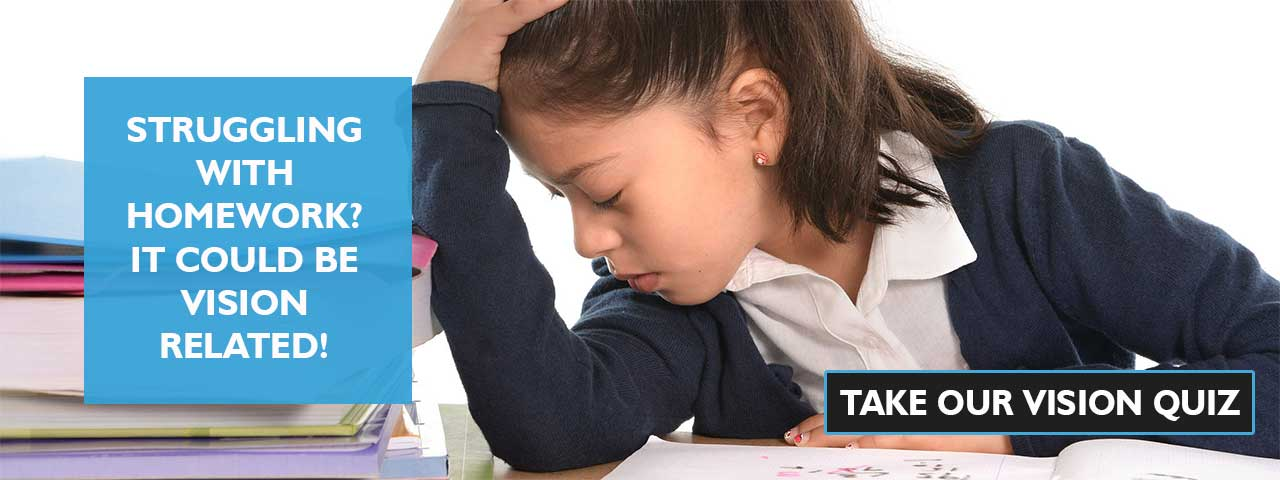 frustrated child at school. Ad for vision quiz