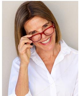 Woman wearing eyeglasses, inside speech bubble