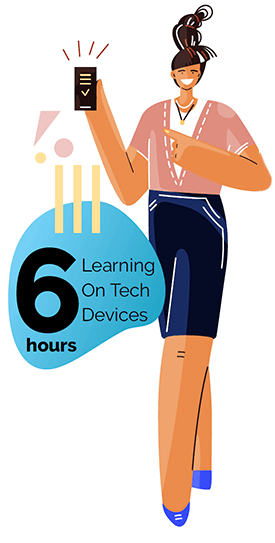 Learning on Tech Devices for 6 hours in Washington