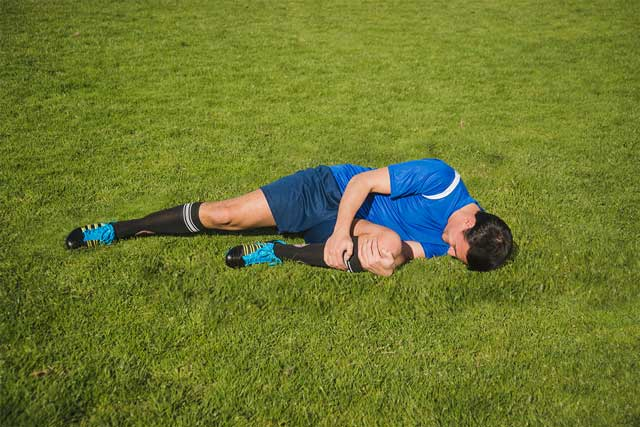 Soccer player with potential brain injury