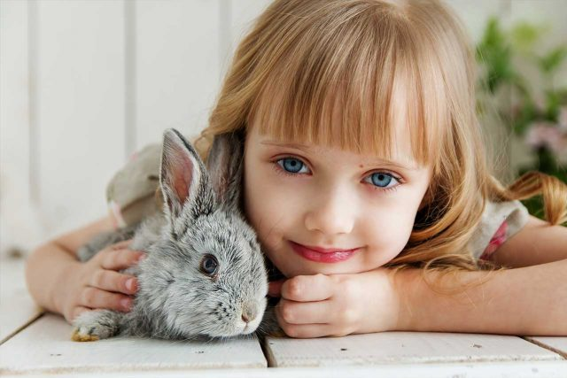 little girl with blue eyes, cuddling with rabbit