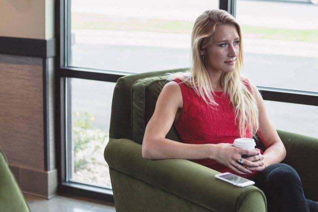 Blonde Woman, sad about low vision diagnosis