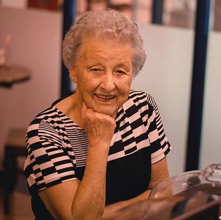 senior woman with cataract