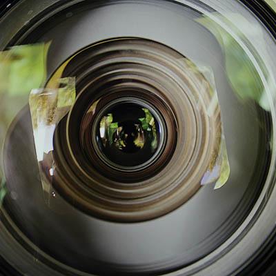 Close up of camera lens