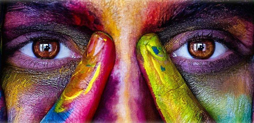 Eyes with painted colors around