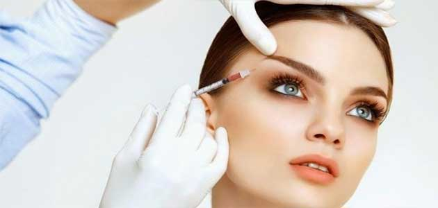 botox injection done to face of young lady