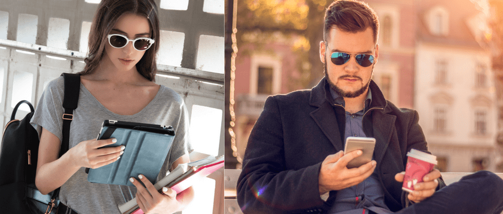 man with blutech polarized sunglasses sitting on a bench outdoors looking at his mobile