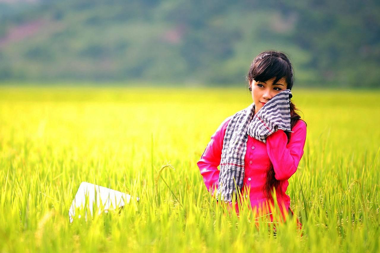 Girl in Wheat Filed