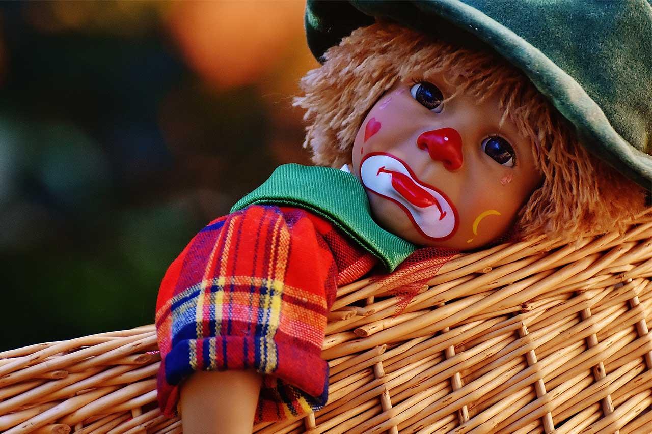 sad clown puppet