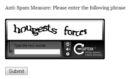 reCAPTCHA in Page