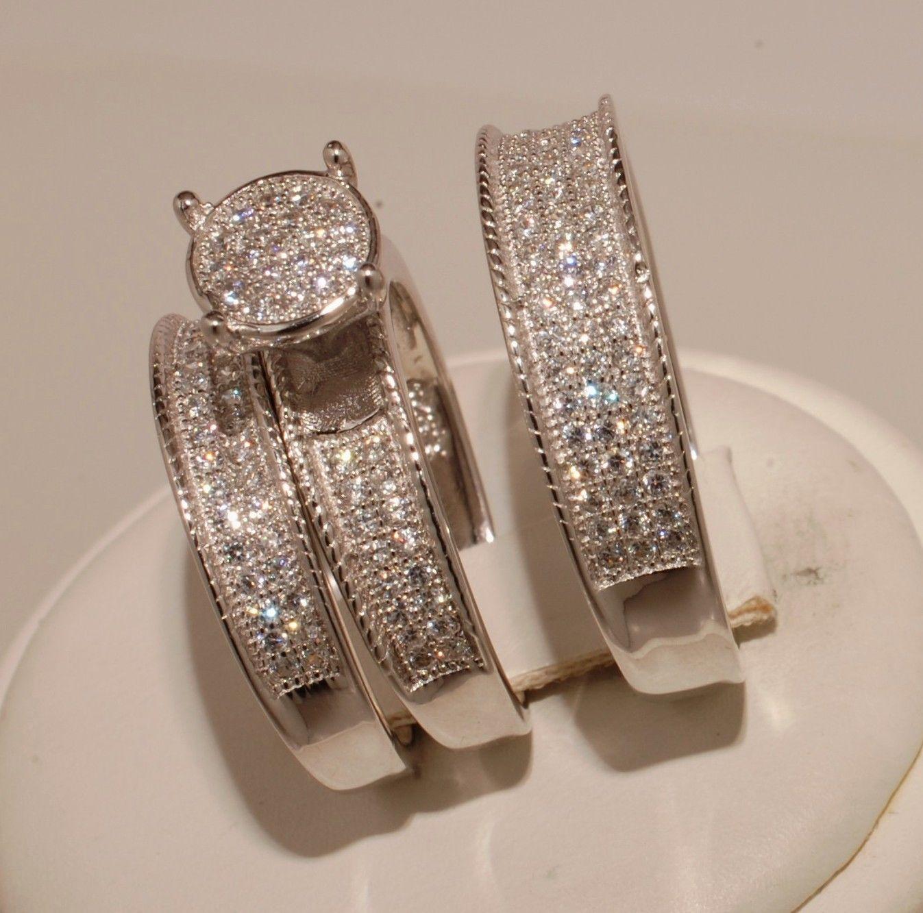 His Her Matching Engagement Wedding Band Ring Diamond Trio Set 14K White Gold Fn