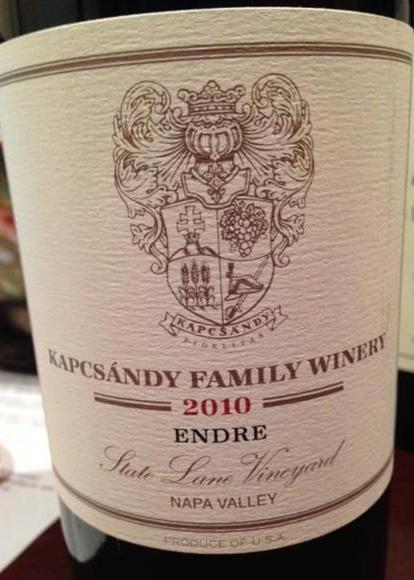 Kapcsandy Family Winery Proprietary Red Endre 2010, 750ml (WA94) from The BPW - Merchants of rare and fine wines.