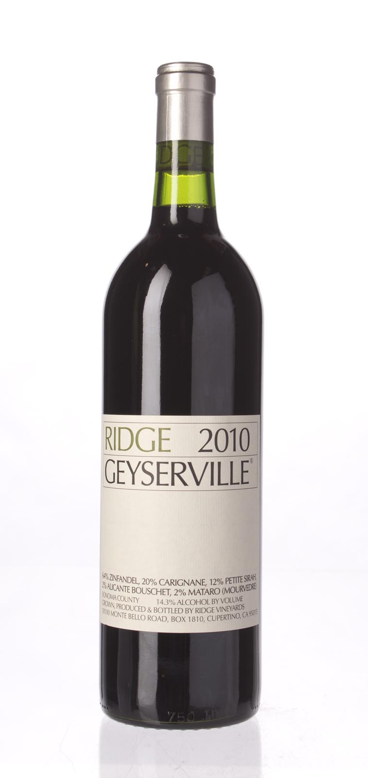 Ridge Proprietary Red Geyserville 2010, 750ml () from The BPW - Merchants of rare and fine wines.