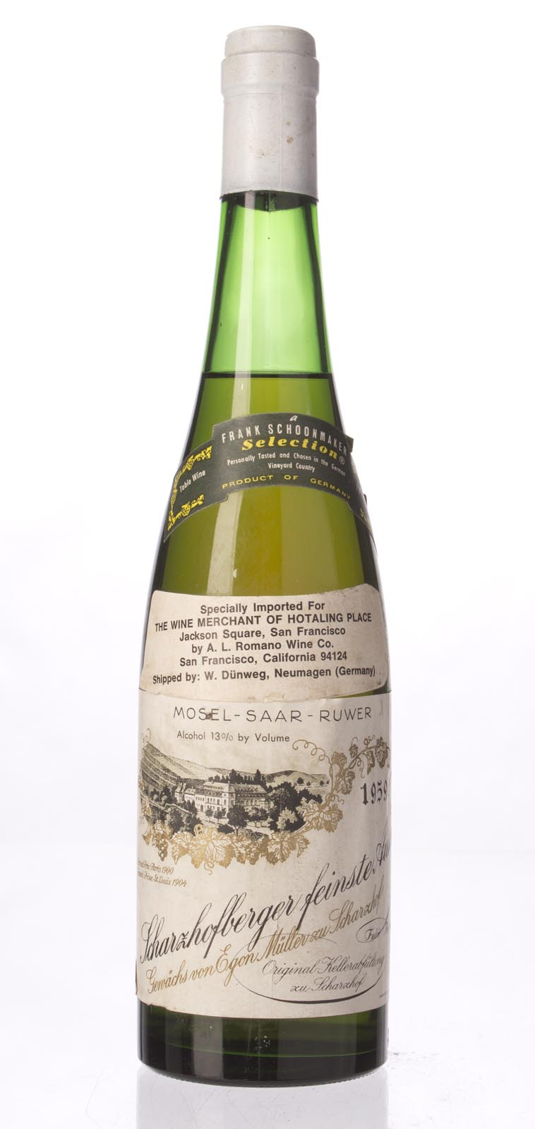 Egon Muller Scharzhofberger Riesling Auslese 1959, 750mL () from The BPW - Merchants of rare and fine wines.