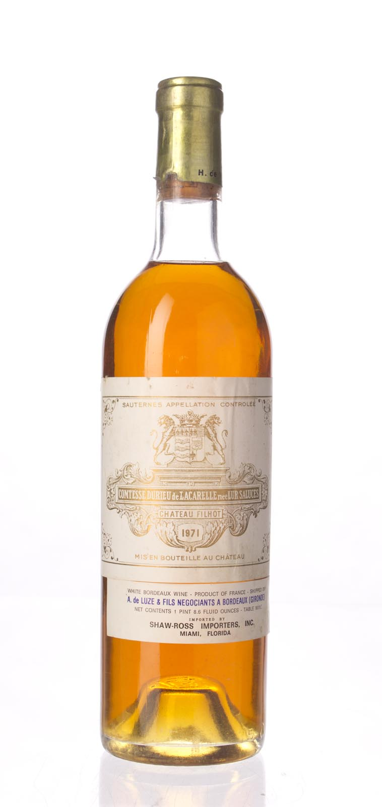 Filhot 1971, 750mL () from The BPW - Merchants of rare and fine wines.