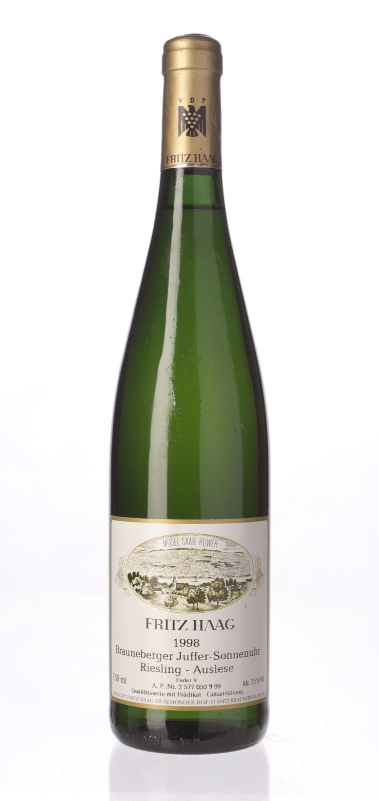 Fritz Haag Brauneberger Juffer Sonnenuhr Riesling Auslese Gold Capsule 1998, 750mL (WS91) from The BPW - Merchants of rare and fine wines.